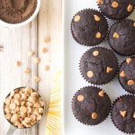 Cocoa Banana Peanut Butter Chip Muffins